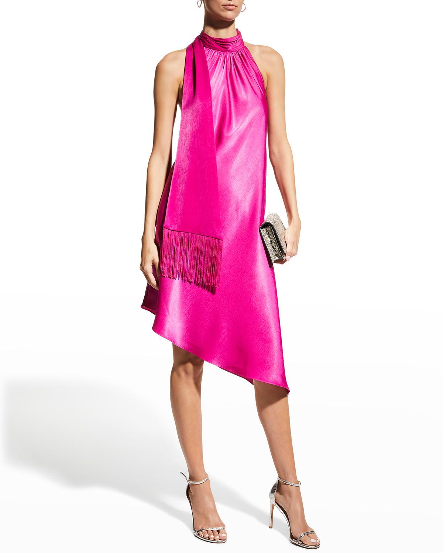 Asymmetric Halter Swing Dress