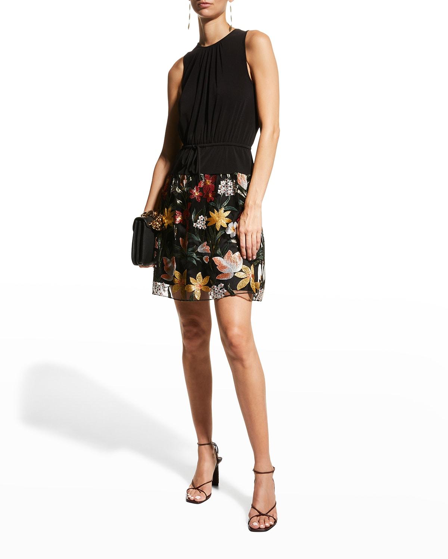 Stretch Bodice Dress w/ Embroidered Skirt