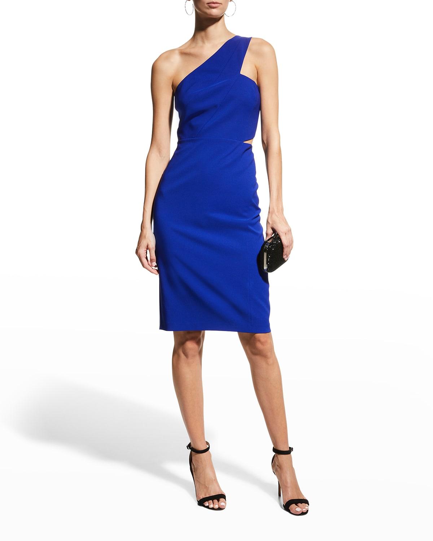 One-Shoulder Cutout Crepe Dress