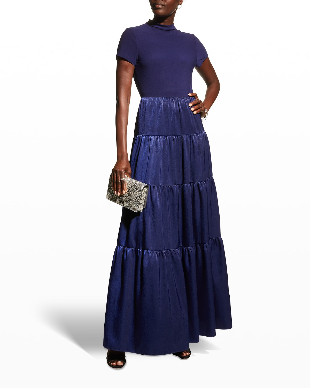 Mixed-Media Short-Sleeve Tiered Gown