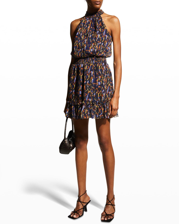 Smocked-Waist Printed Halter Dress