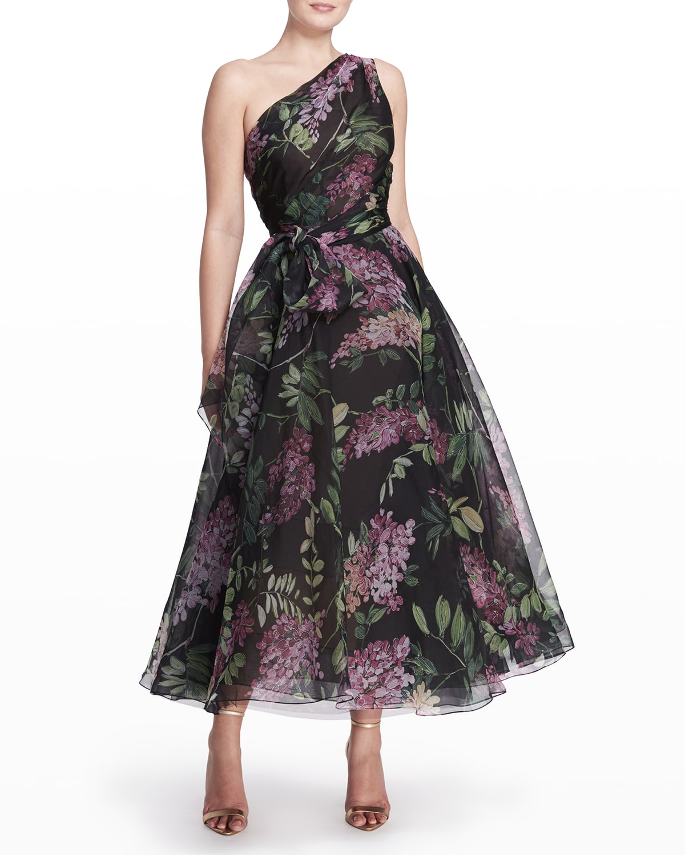 Floral-Printed Silk-Chiffon Midi Dress