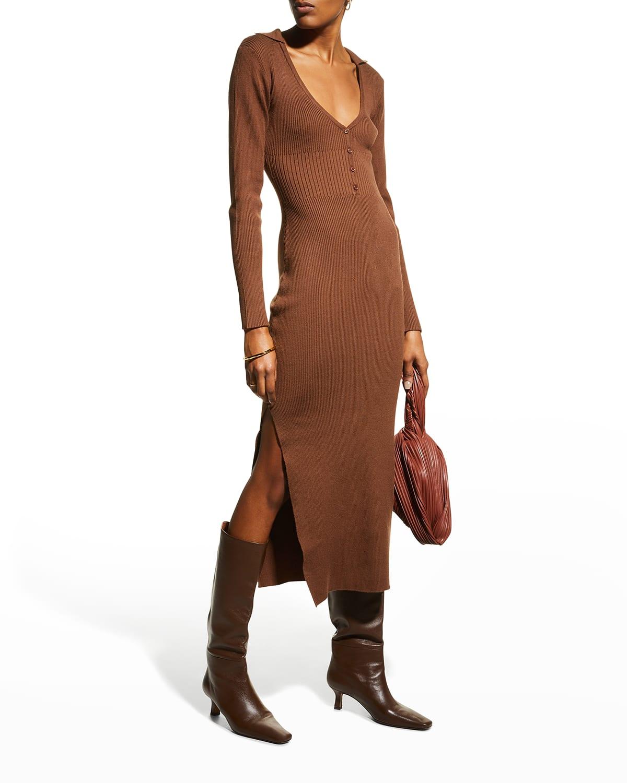 Collared Interlock Knit Midi Dress