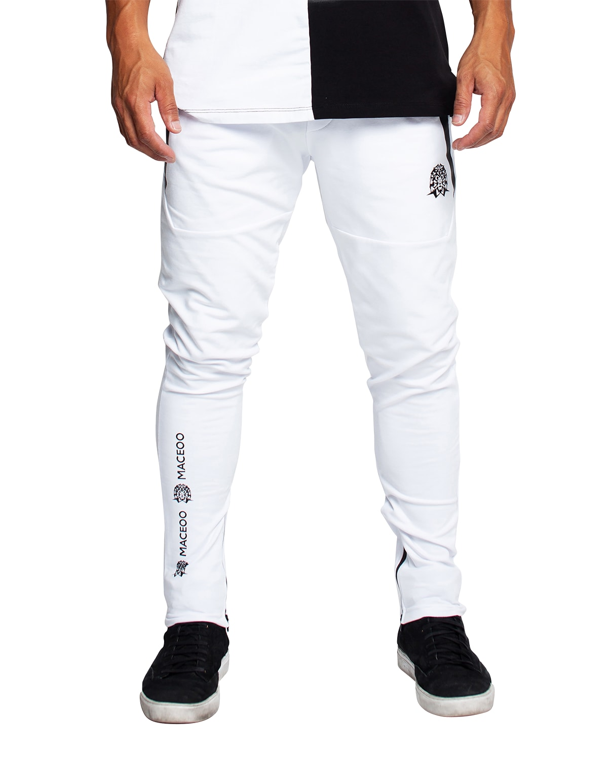 Maceoo Men's Contrast-trim Jogger Pants In White