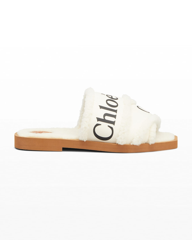 Woody Shearling Logo Flat Sandals
