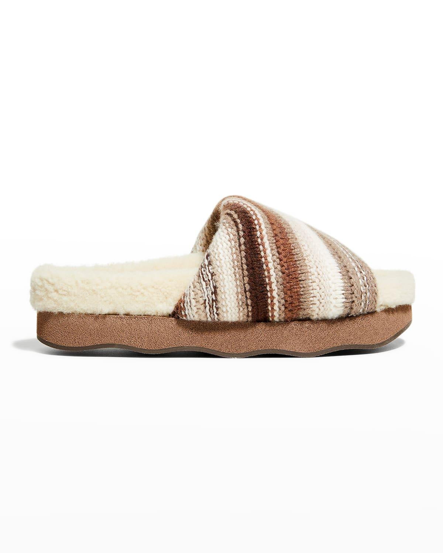Cashmere Knit Shearling Slide Sandals