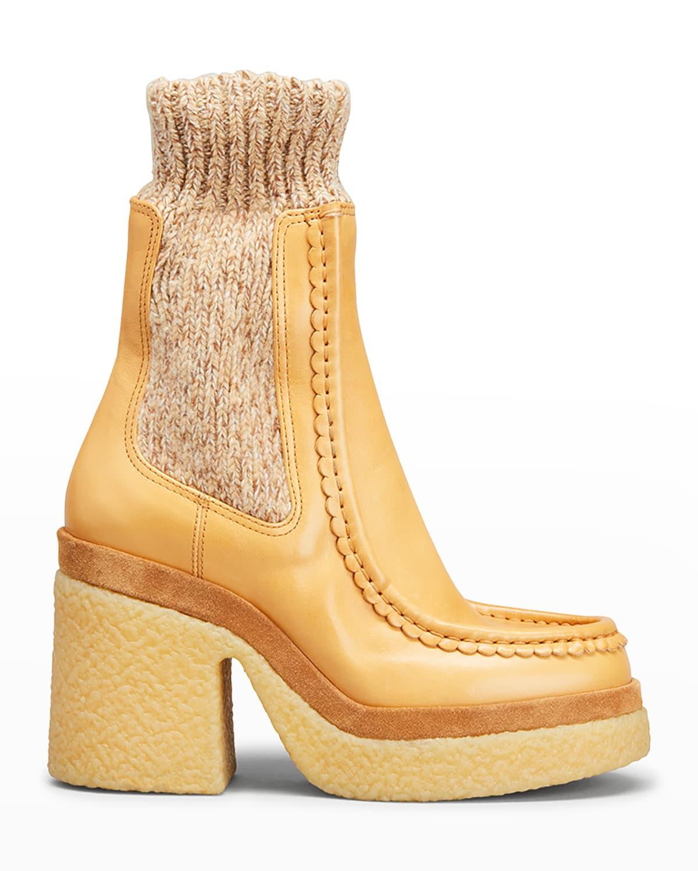 Jamie Calfskin Knit Sock Booties