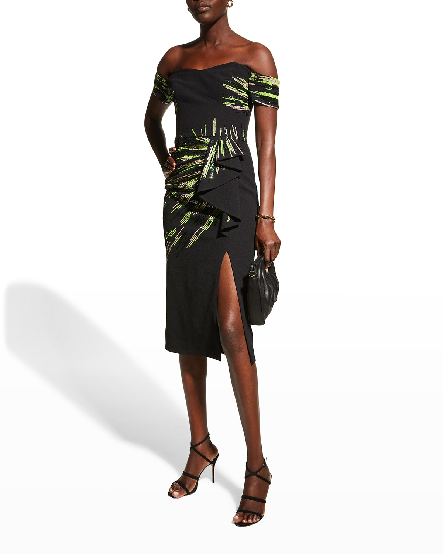 Alani Off-the-Shoulder Sequin Midi Dress