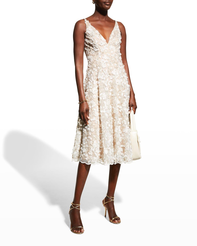 Elisa 3D Floral Fit-&-Flare Midi Dress