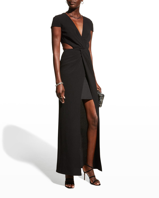 Elijah Deep V-Neck Cutout Gown