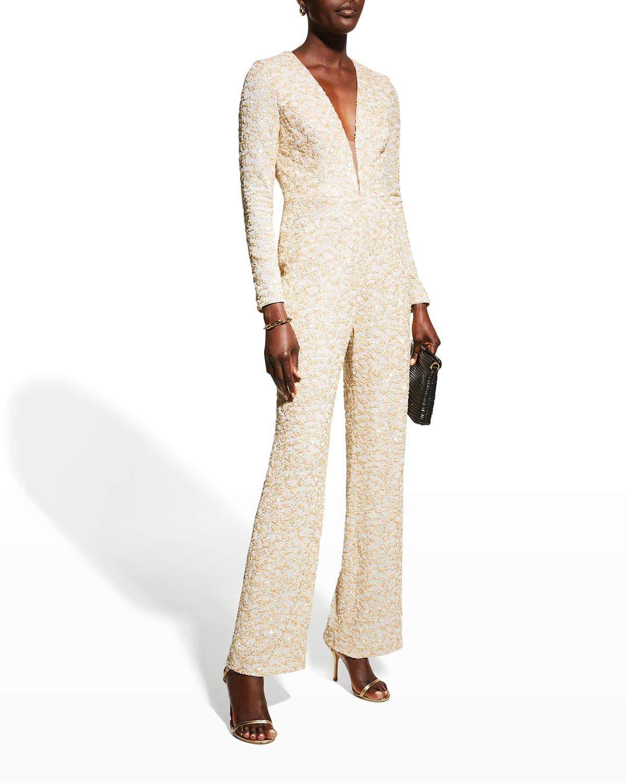 Sequin Long-Sleeve Wide-Leg Jumpsuit