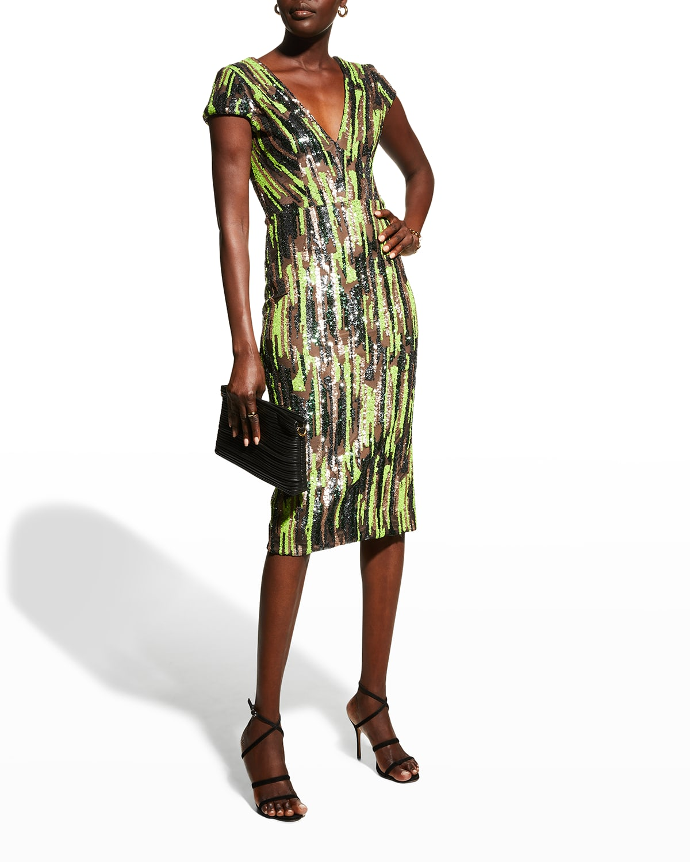 Allison Cap-Sleeve Sequin Midi Dress