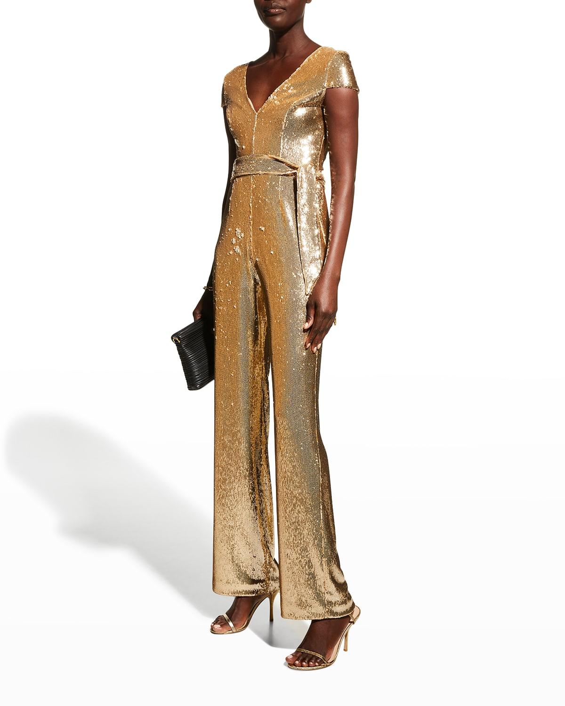 Dina Belted Sequin Jumpsuit