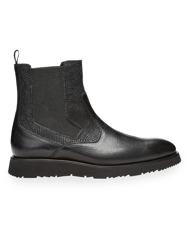 Men's Harold Snake-Print Chelsea Boots
