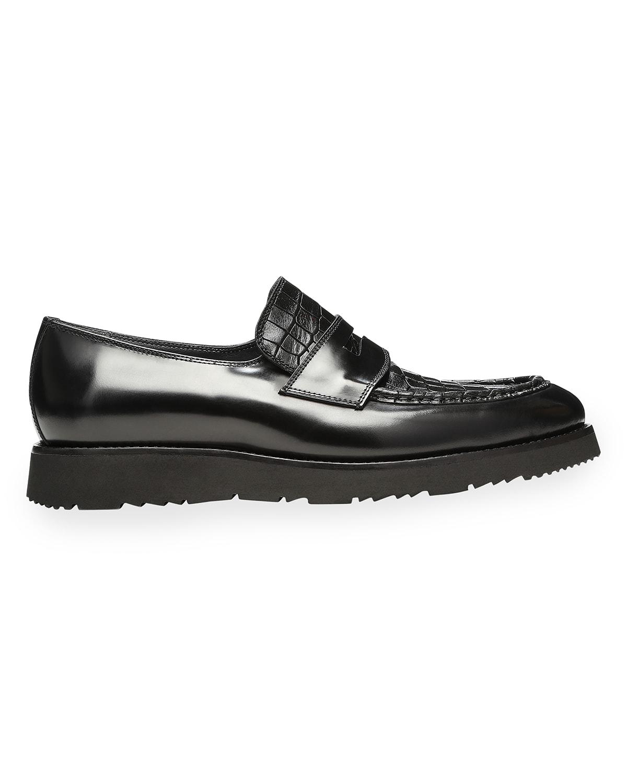 Men's Hayden Shiny Moc-Croc Penny Loafers