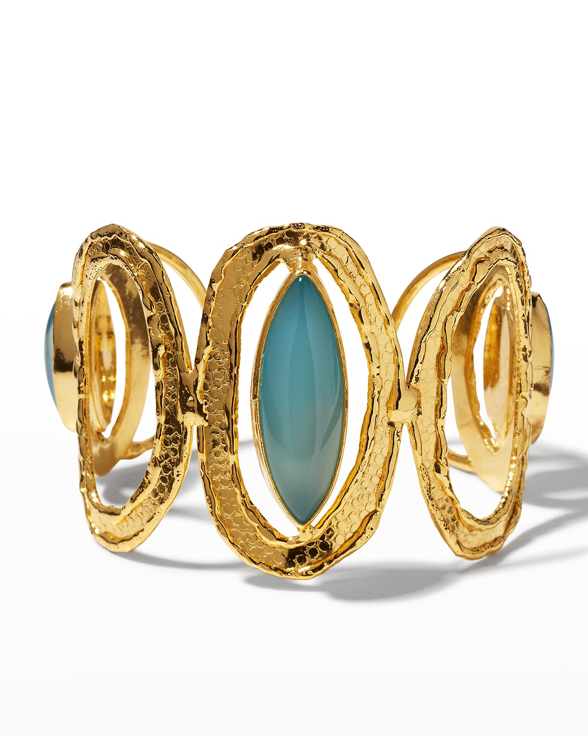 Blue Chalcedony and Gold Open Cuff