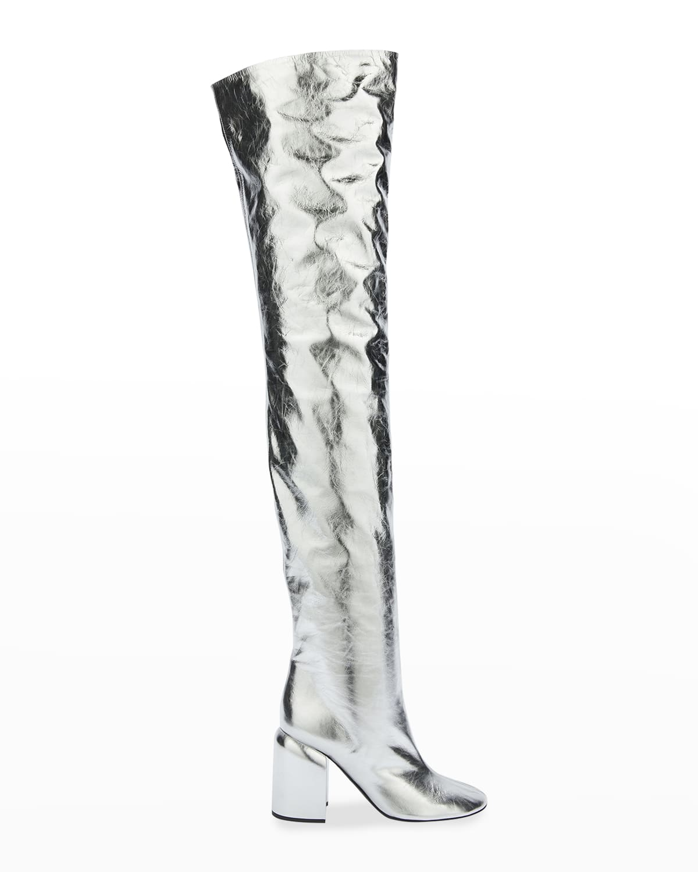 Tucson 90mm Chunky-Heel Metallic Calf Over-the-Knee Boots