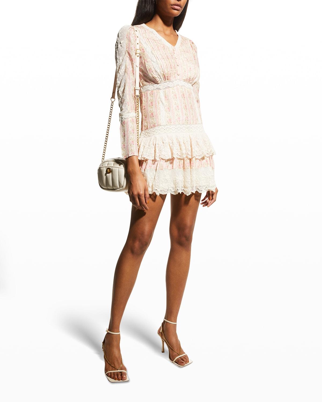Pirelle 3/4-Sleeve Silk Mini Dress