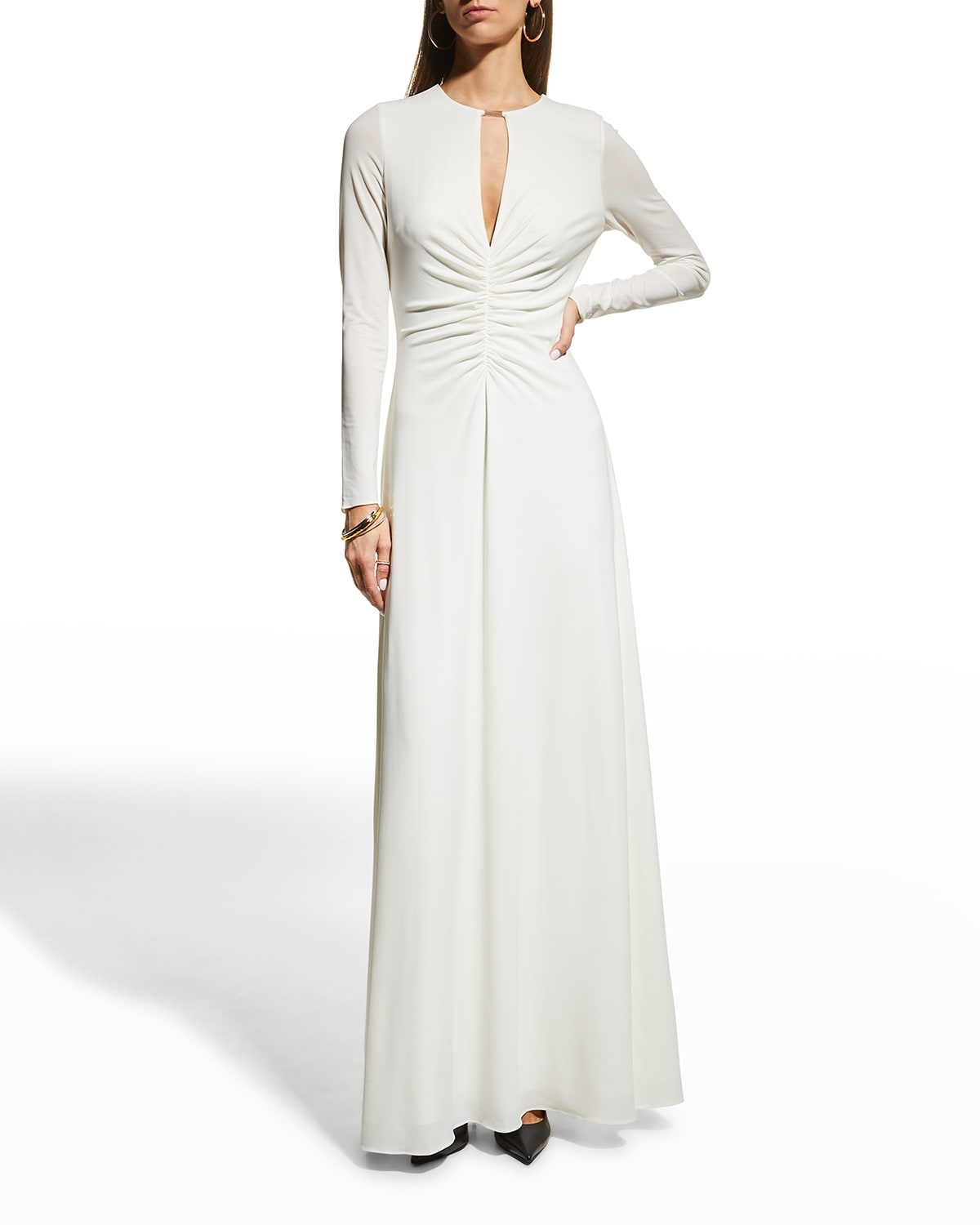 Vera Long-Sleeve Jersey Gown