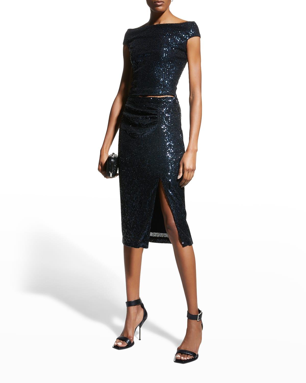 Aidan Sequin Thigh-Slit Skirt