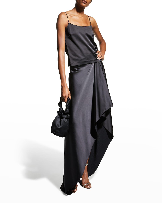 Penelope High-Low Long Satin Skirt