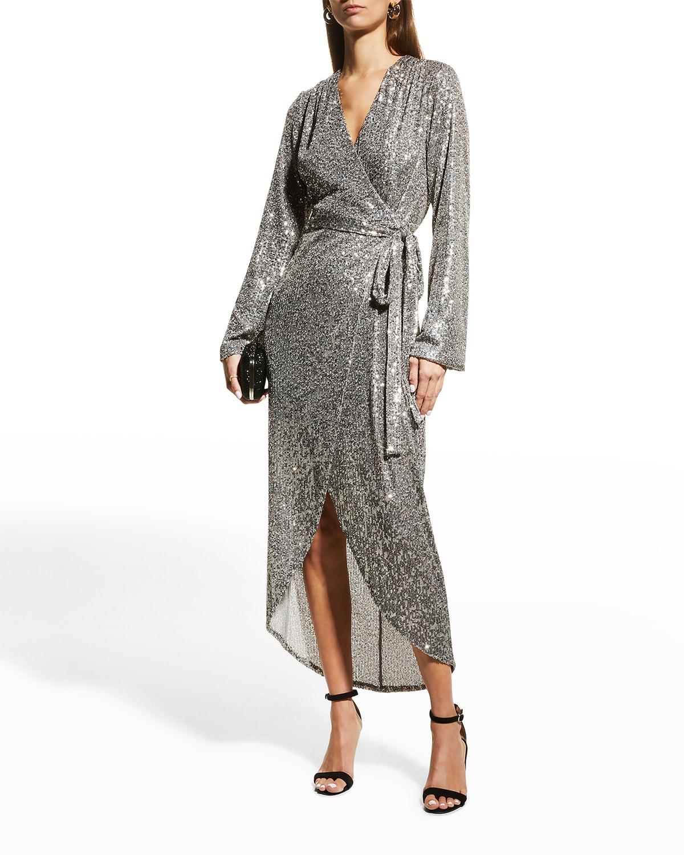 Falan Sequin Long-Sleeve Wrap Dress
