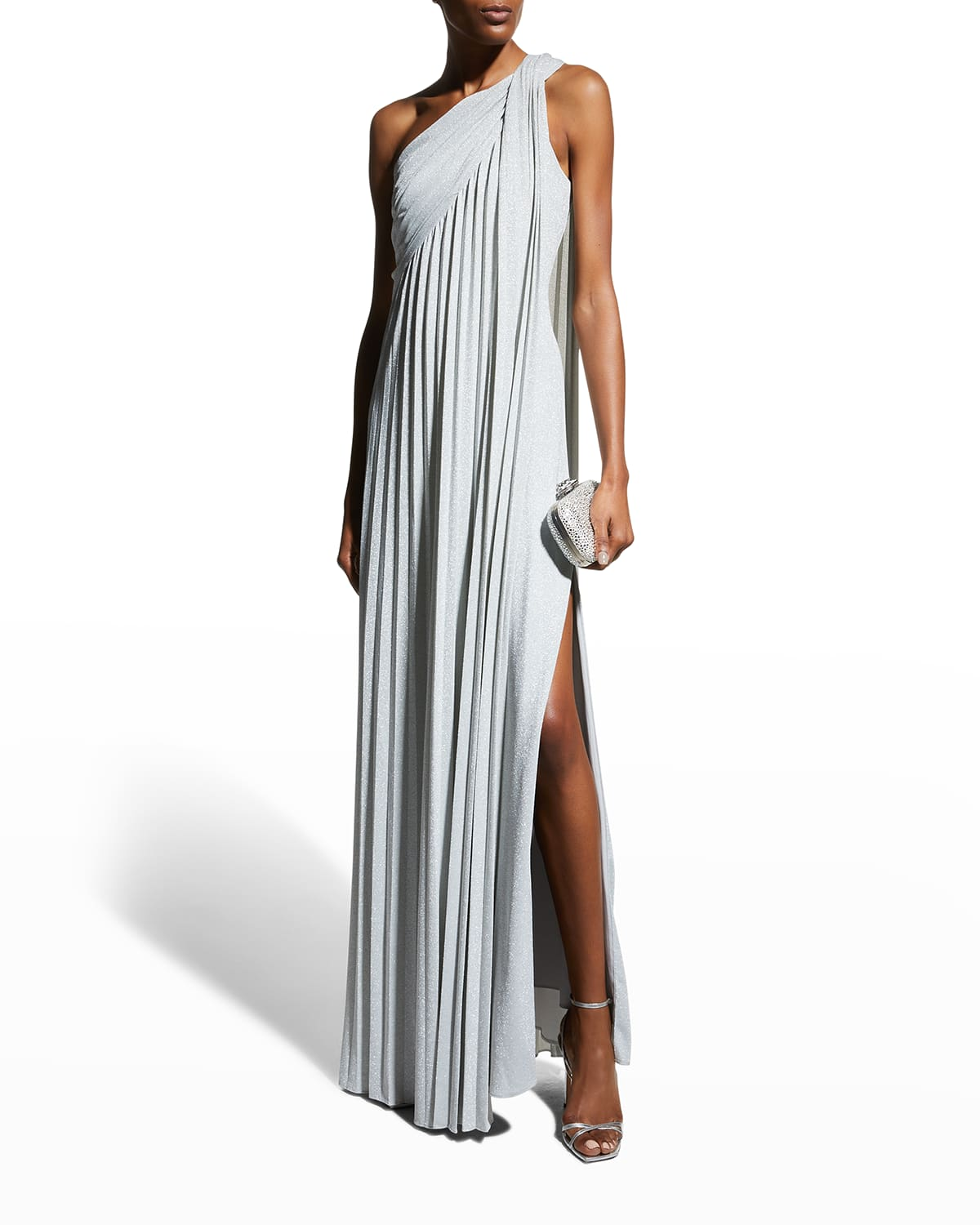 One-Shoulder Pleated Knit Gown