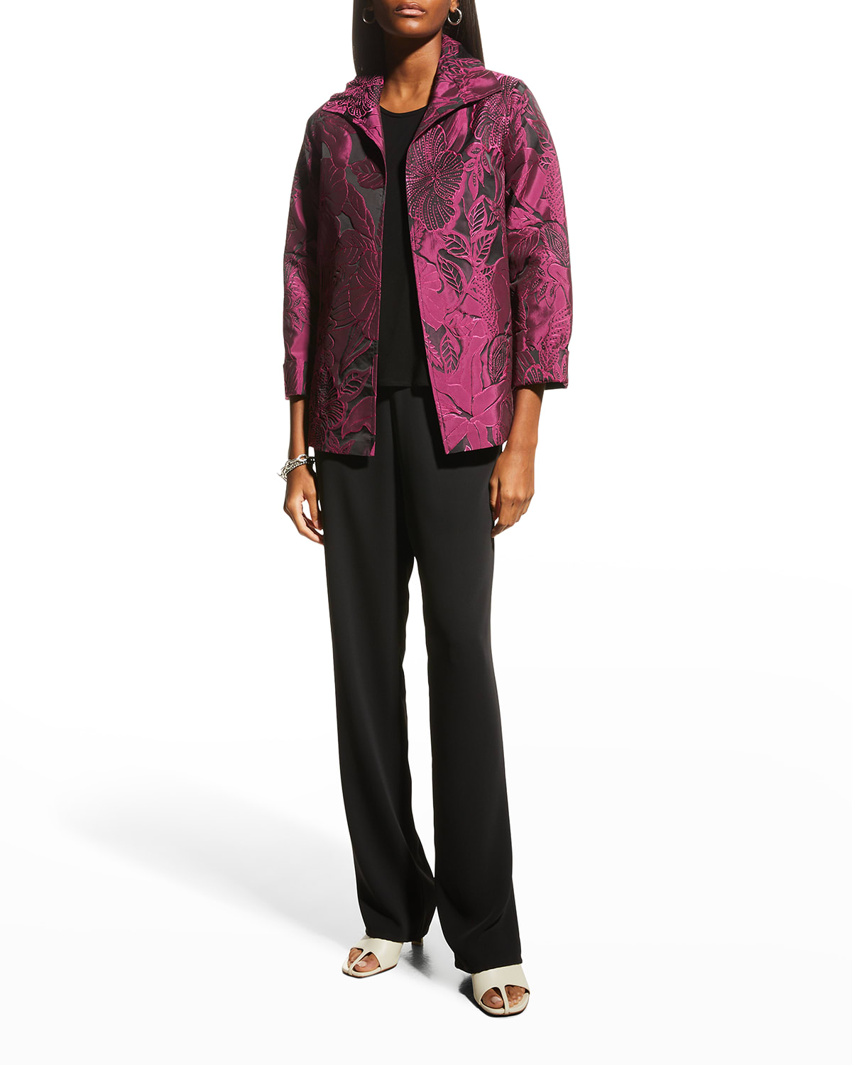 Tropical Midnight Jacquard Ruched-Collar Jacket