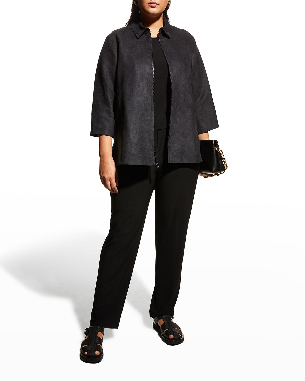 Plus Size Modern Faux-Suede Zip Shirt