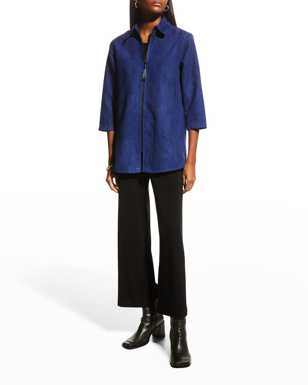 Modern Faux-Suede Zip Shirt
