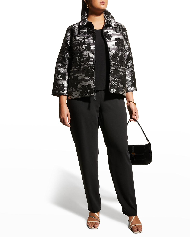 Plus Size Garden Shadow Jacquard Zip Jacket