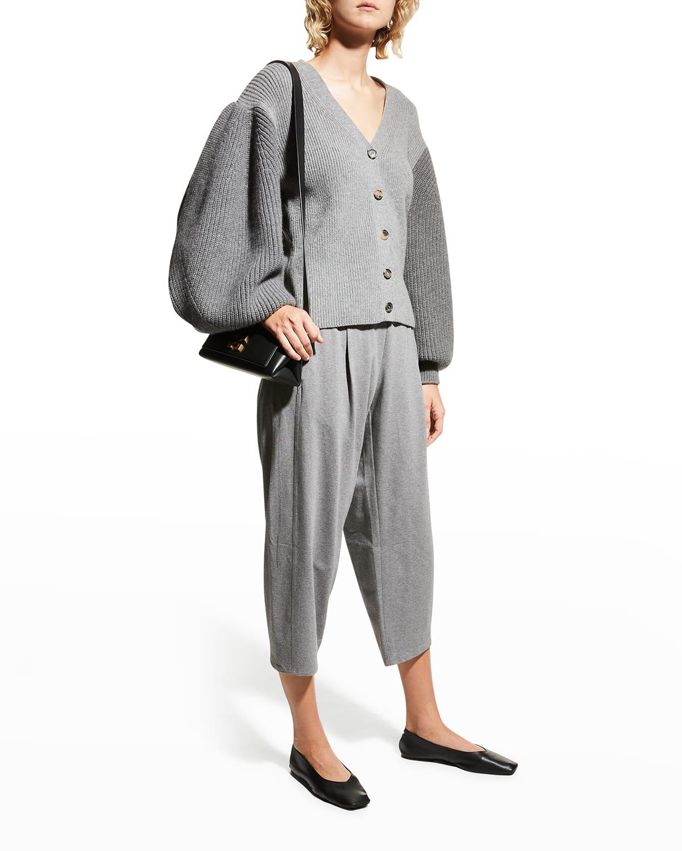 Heathered Cotton Jersey Cropped Lantern Pants