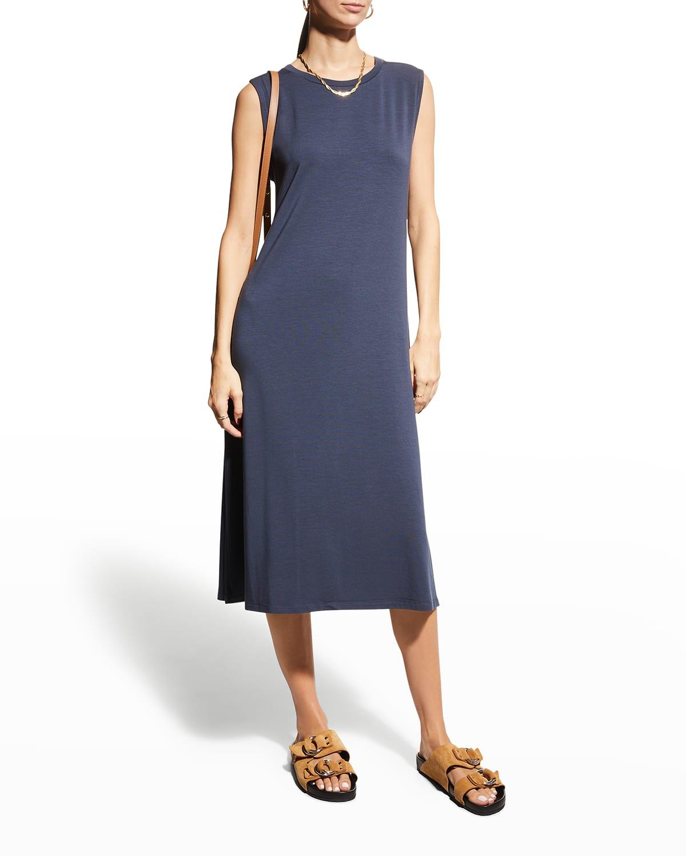 Stretch Jersey Sleeveless Crewneck Dress