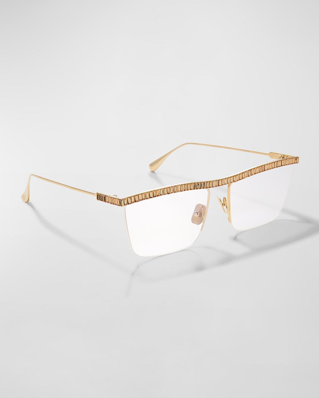 Sheika Half-Rim Square Embellished Titanium Optical Glasses