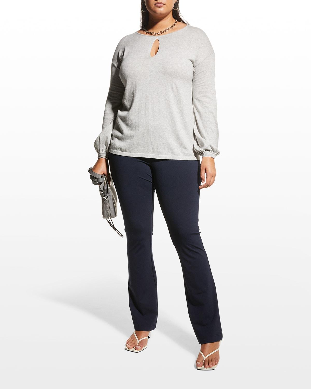 Plus Size January Bubble-Sleeve Keyhole Sweater