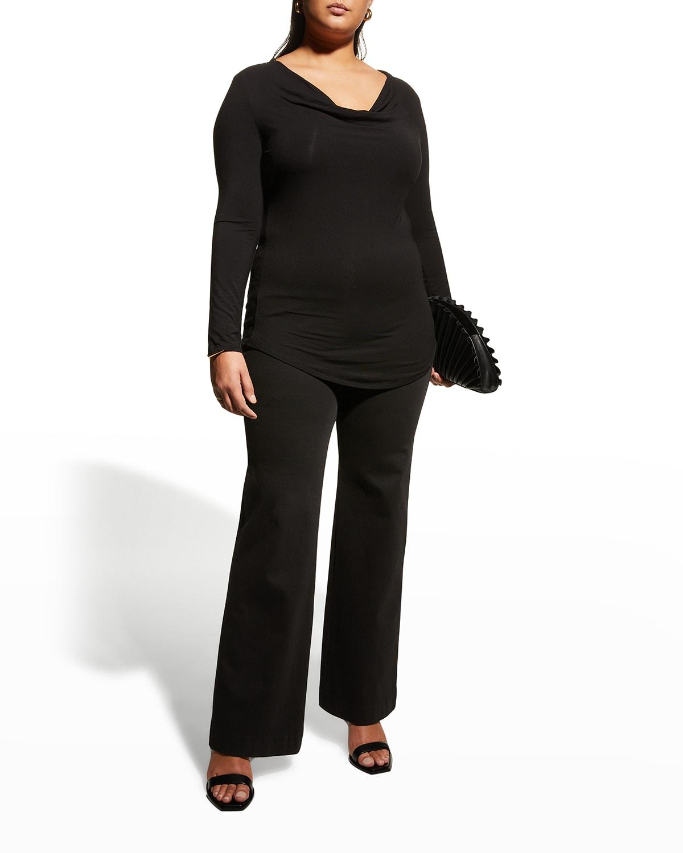 Plus Size Borsen Cowl-Neck Jersey Top