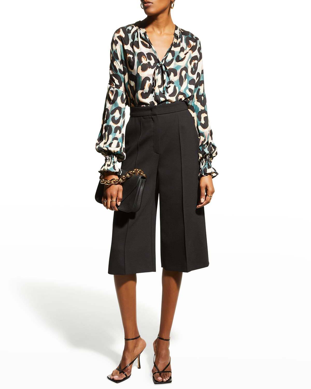 Morrisey Abstract Jungle Tie-Neck Top