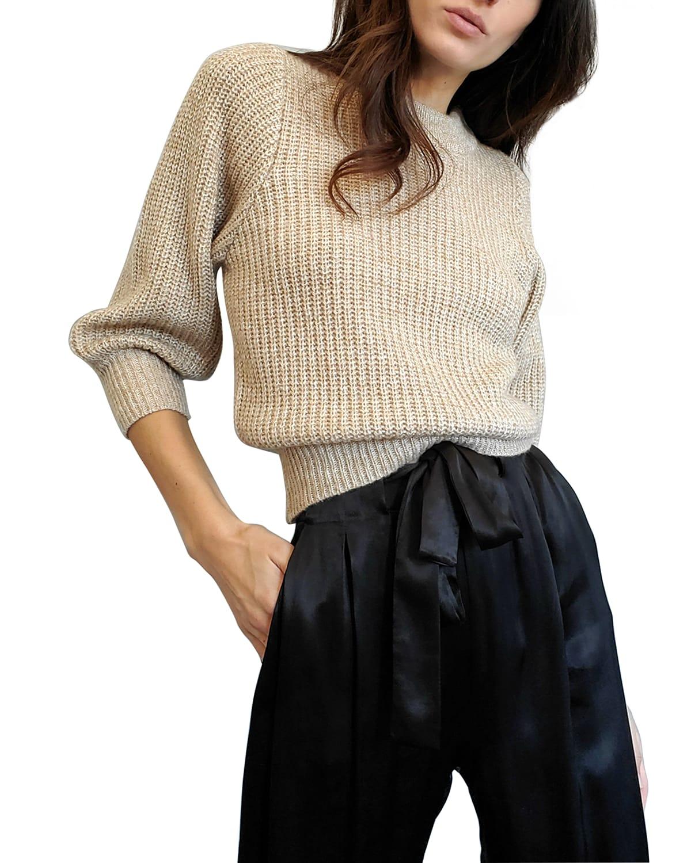 Dee Ribbed Balloon-Sleeve Sweater