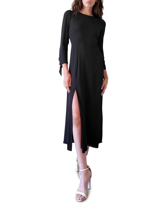 Donna Long-Sleeve Midi Slit Dress