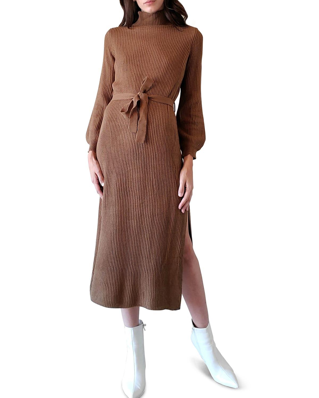 Jordana Balloon-Sleeve Midi Sweater Dress