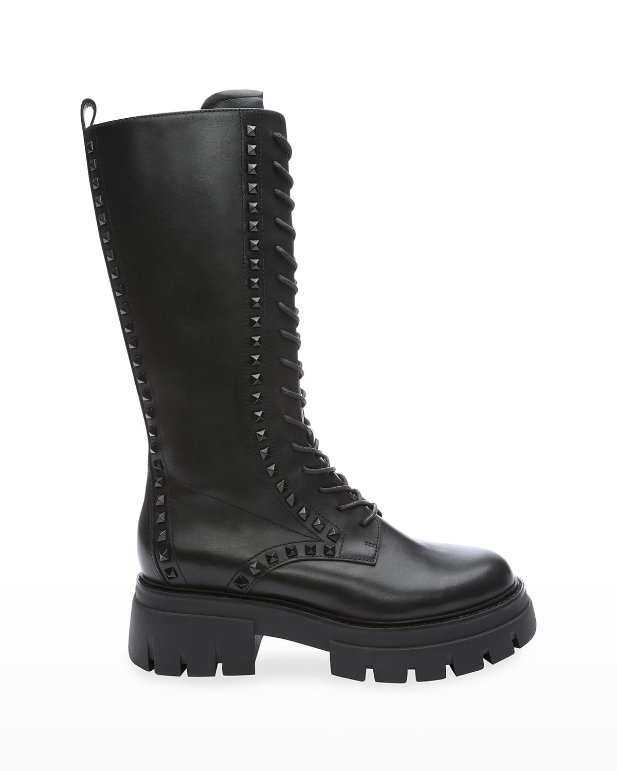 Lullaby Studded Leather Tall Combat Boots
