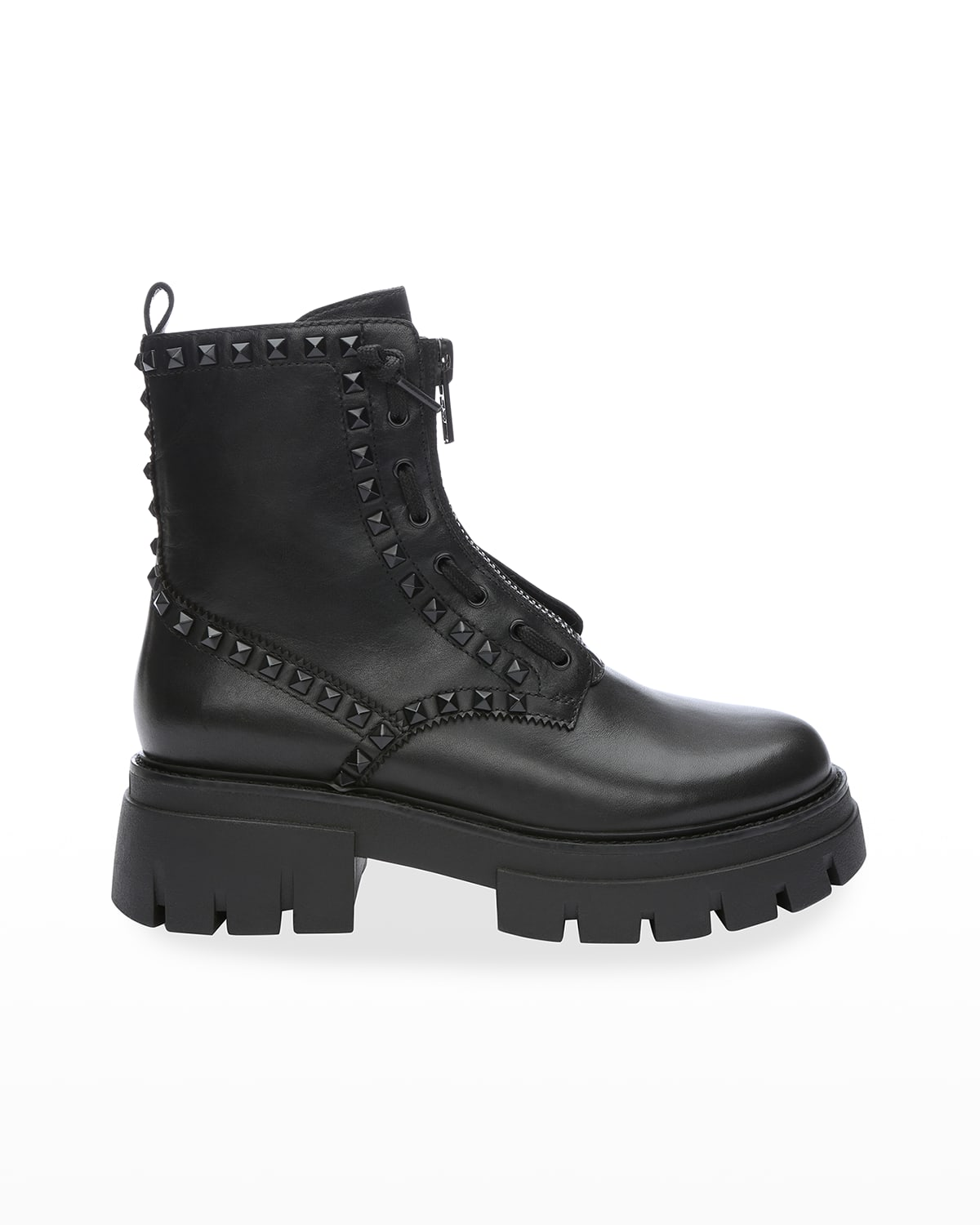 Lynch Studded Leather Zip Combat Booties