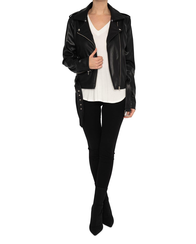Mena Short Vegan Leather Moto Jacket