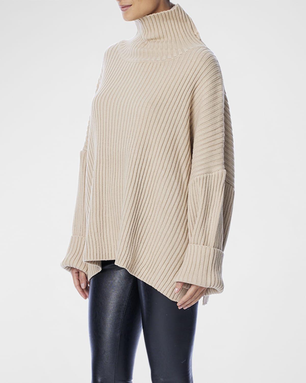 Casey Ribbed Blouson-Sleeve Sweater