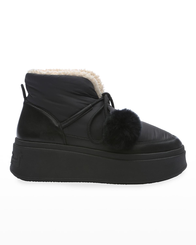 Nylon Faux-Fur Platform Boots