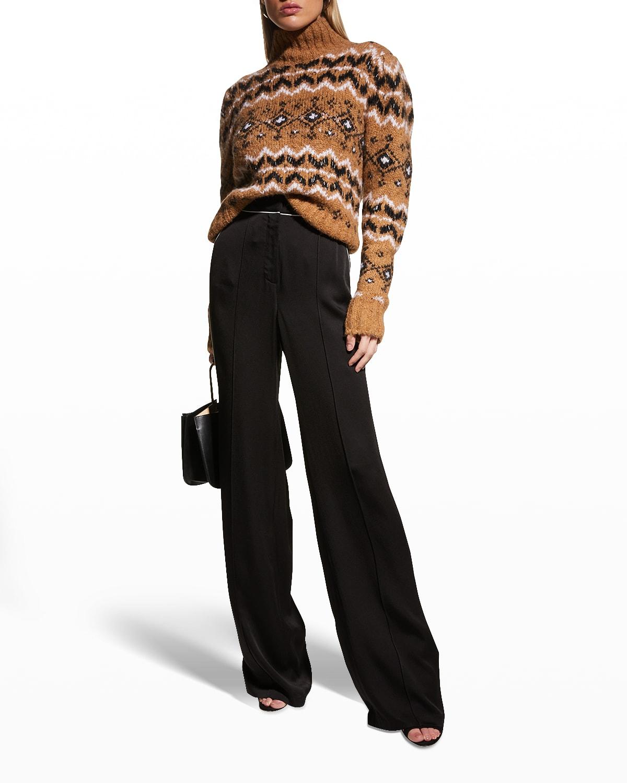 Veronica Beard Edia Wide-leg Pants W/ Piping In Black