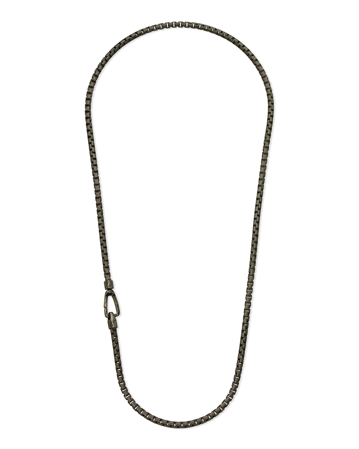 Carved Tubular Burnished Silver Necklace with Matte Chain and Polished Clasp