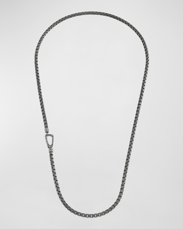 Carved Tubular Oxidized Silver Necklace