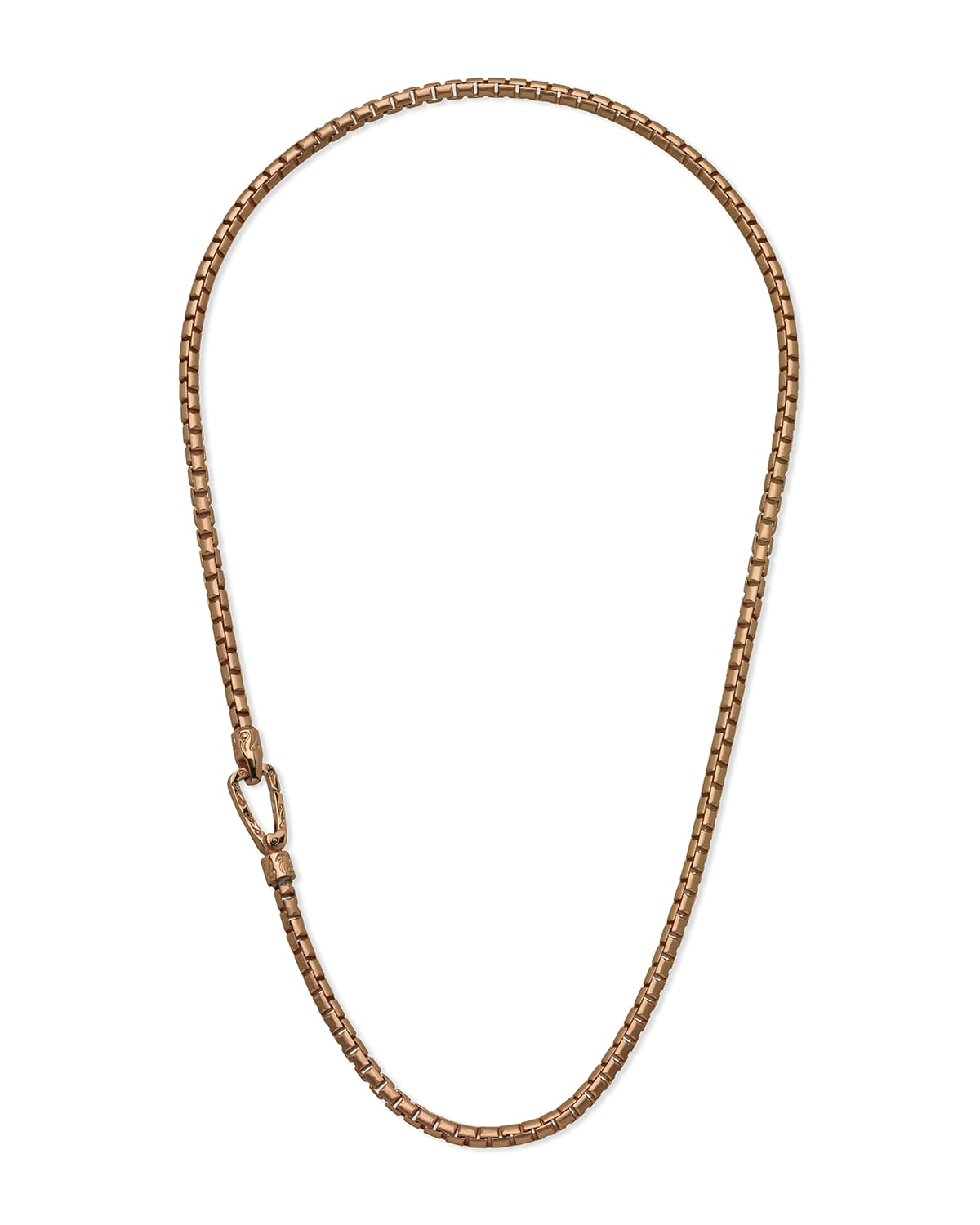 Carved Tubular Rose Gold Plated Silver Necklace with Matte Chain and Polished Clasp