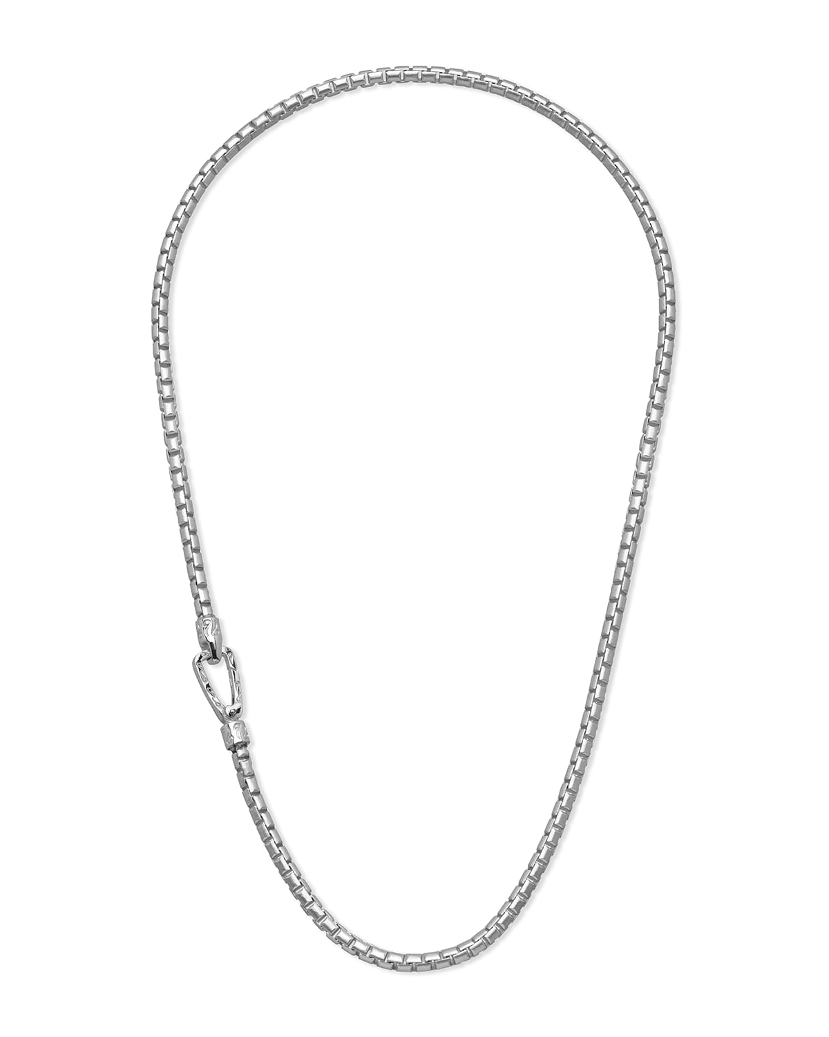 Carved Tubular White Polished Silver Necklace with Matte Chain and Polished Clasp
